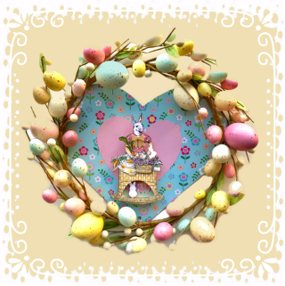 Easter Wreath with background colorjpg-framed