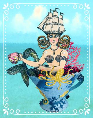 Mermaid on ocean background